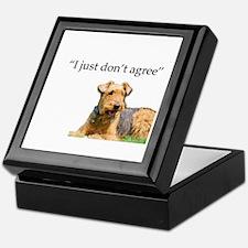 Outdoor Airedale Terrier Disagrees Keepsake Box