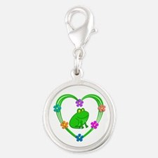 Frog Heart Silver Round Charm