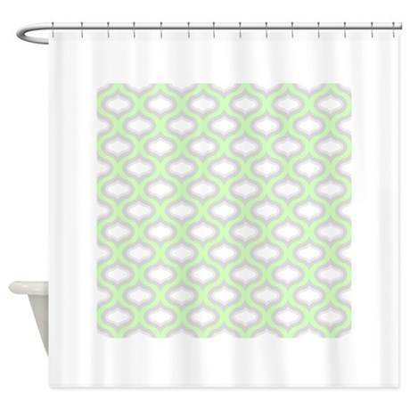 Mint Green And Grey Ogee Shower Curtain By Admin CP8246890