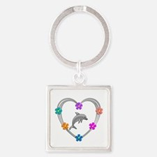 Dolphin Heart Square Keychain