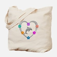 Dolphin Heart Tote Bag