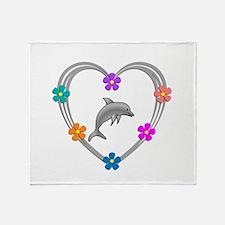 Dolphin Heart Throw Blanket
