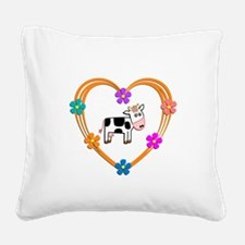 Cow Heart Square Canvas Pillow