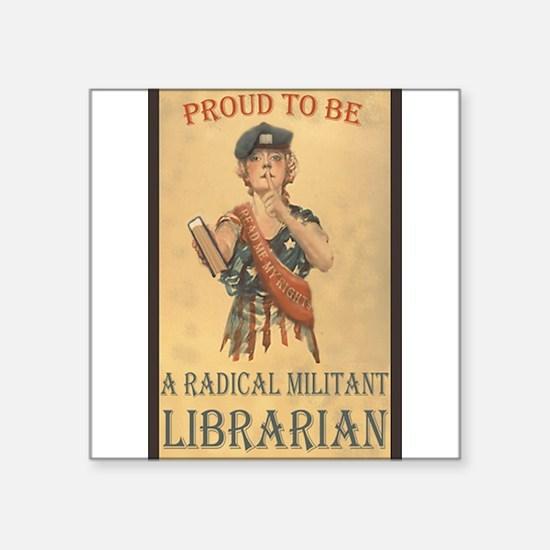 "Cute Radical librarian Square Sticker 3"" x 3"""