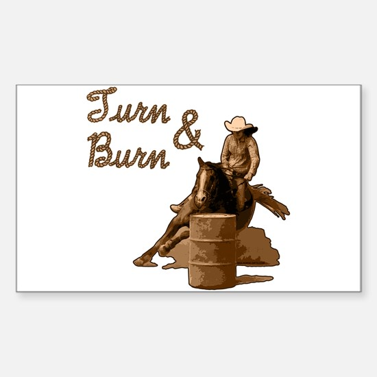 Turn & Burn. Western Cowgirl. Sticker (Rectangular