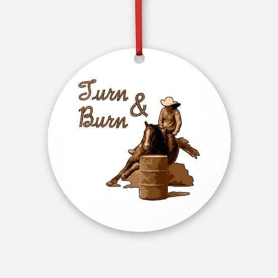 Turn & Burn. Western Cowgirl. Ornament (Round)