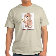 I Love Monkeys Ash Grey T-Shirt