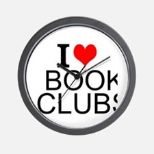 I Love Book Clubs Wall Clock