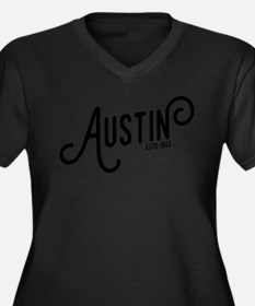 Austin Texas Women's Plus Size V-Neck Dark T-Shirt