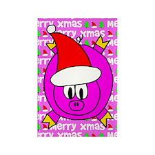Christmas Pig Rectangle Magnet