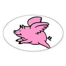 Flying Pig Oval Decal