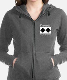 Funny Double black diamond Women's Zip Hoodie