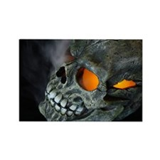 Orange Eyed Skull Rectangle Magnet