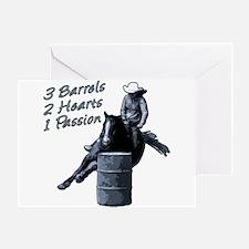 3 Barrels 2 hearts 1 passion. Greeting Card