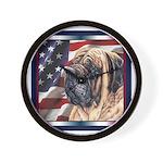 Mastiff Dog Patriotic USA Flag Wall Clock