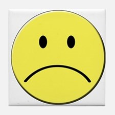 Yellow Sad Face Emoji Tile Coaster
