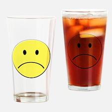 Yellow Sad Face Emoji Drinking Glass