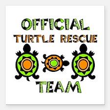 "Official Turtle Rescue T Square Car Magnet 3"" x 3"""