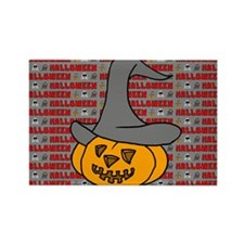 Pumpkin With Hat Rectangle Magnet