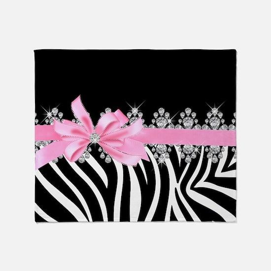 Zebra (pink) Throw Blanket