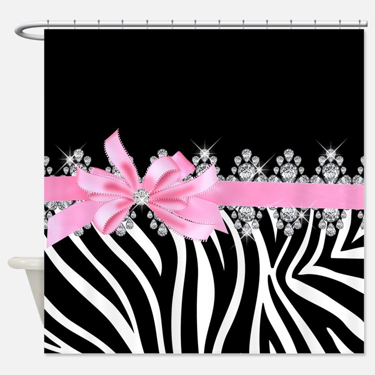 Zebra (pink) Shower Curtain