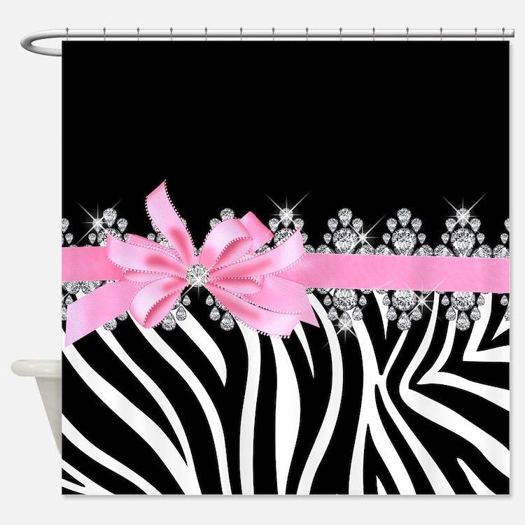 Pink Black Zebra Shower Curtains Pink Black Zebra Fabric