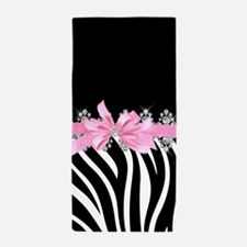 Zebra (pink) Beach Towel