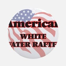 American White Water Rafter Round Ornament