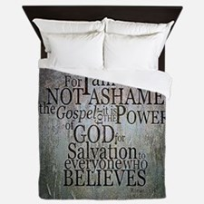 ROMANS 1:16 Not Ashamed Queen Duvet