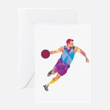Basketball Player Dribble Front Low Polygon Greeti