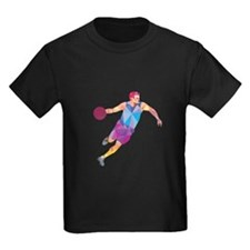 Basketball Player Dribble Front Low Polygon T-Shir