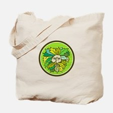 Green Man Foliate Head Circle Retro Tote Bag