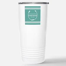 Mint Wedding Monogram H Stainless Steel Travel Mug