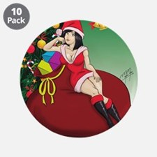 "Sexy santa helper pinup 3.5"" Button (10 pack)"