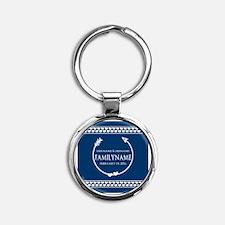Personalized Names Monogram Wedding Round Keychain