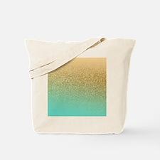Gold Glitter Aqua Gradient Tote Bag