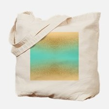 Gold Glitter Aqua Gradient Seamless Tote Bag