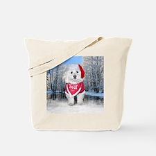 Christmas Bichon Frise Tote Bag