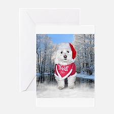 Christmas Bichon Frise Greeting Cards