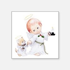Cute Christmas Baby Angel And Cat Sticker