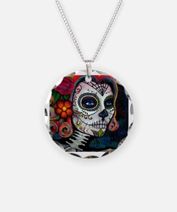 Unique Sugar skull Necklace Circle Charm