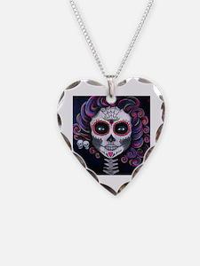 Unique Sugar skull Necklace Heart Charm