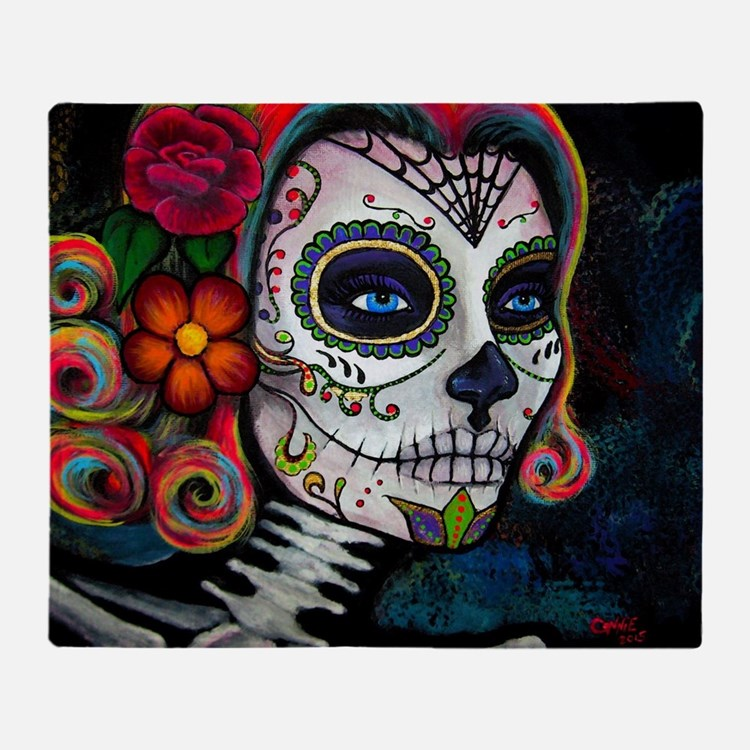 Cute Sugar skull Throw Blanket