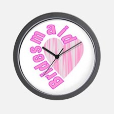 pink bachelorette party bridesmaid Wall Clock
