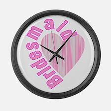 pink bachelorette party bridesmai Large Wall Clock