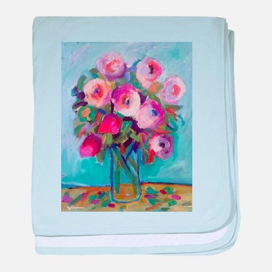 Impressionist Roses baby blanket