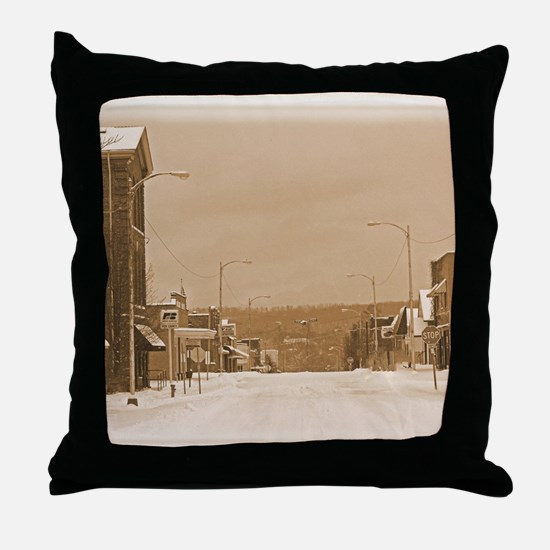 Old Main Street in the Snow Throw Pillow