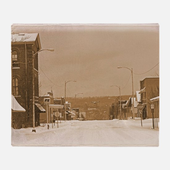 Old Main Street in the Snow Throw Blanket