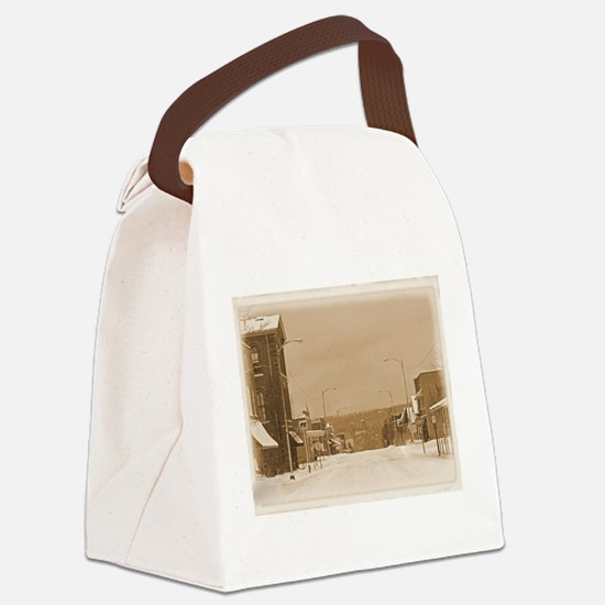 Old Main Street in the Snow Canvas Lunch Bag