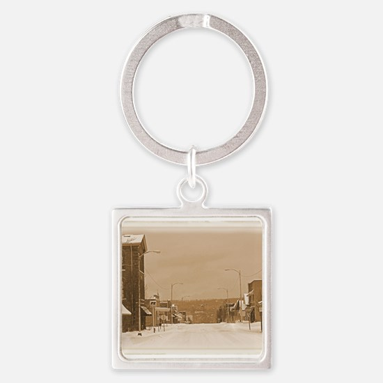 Old Main Street in the Snow Keychains